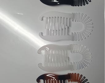 4 pcs new vintage large comb banana clip hair riser claw ( Black-White-Brown-Clear)