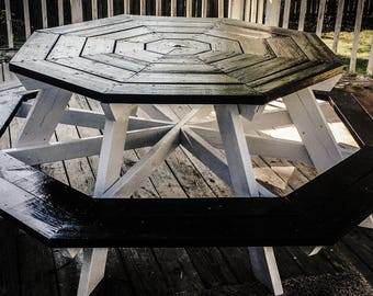 Paper Moon Handcrafted Octagon Picnic Table! Reclaimed 250 year barnwood! Seats 8 comfortably!