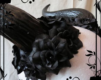Medium Horn, Rose Detail Headdress