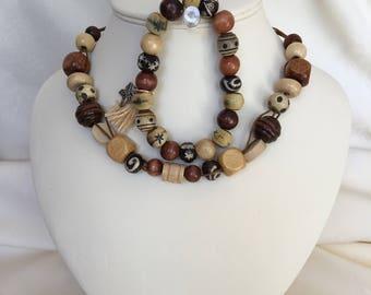 Wooden Bead Necklace and Bracelet Set