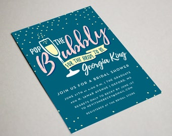 "Pop the Bubbly Invitation | Bubbly Bridal Shower | Bridal Shower Printable | 5x7"""