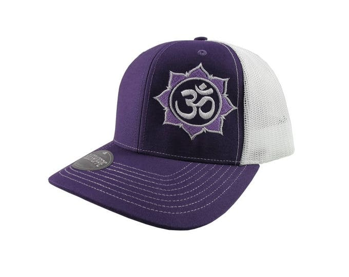 Yoga Om Symbol Lotus Flower White and Purple Embroidery on an Adjustable Purple and White Structured Truckers Style Snap-back Baseball Cap
