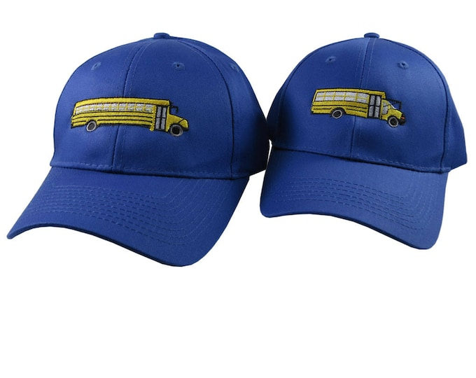 A Pair of Yellow School Bus Driver Embroidery Designs on 2 Royal Blue Adjustable Structured Baseball Caps for Adult and Child Age 6 to 14
