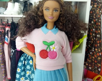 Barbie Clothes 1/6 scale doll clothes pink cherry top