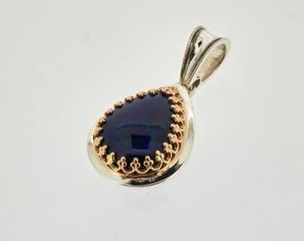 Teardrop black opal filigree pendant sterling silver and 14k gold / Black opal pendant / Teardrop pendant / Handmade fine jewelry pendant