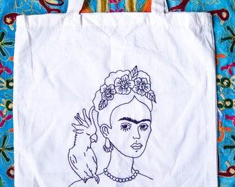 Frida Kahlo canvas shoulder bag. Embroidery. Handmade