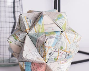 Map | Modular Origami | Paper Sculpture | Geography | Wedding or Anniversary Gift | Centrepiece | Geography | Travel