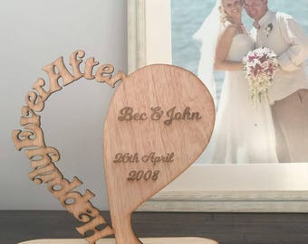 """Stunning """"Happily Ever After"""" timber plaque on a stand or wall plaque. Laser cut with personalised etching, custom made. Wedding, Newly weds"""