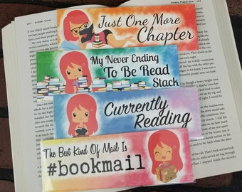 Bookish Girl Set By Hair Color - Bookish Bookmark - Multiple Hair Colors Available