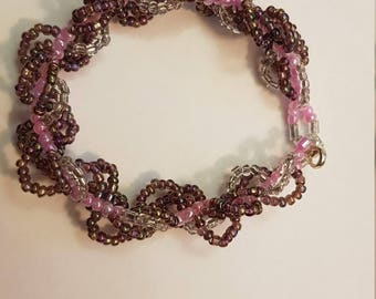 Spiral Rope seed beads - pink, purple & silver