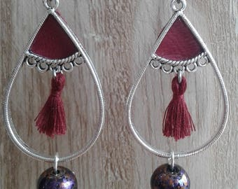 ring silver, leather and Burgundy tassel, pearl earrings, Burgundy and rust