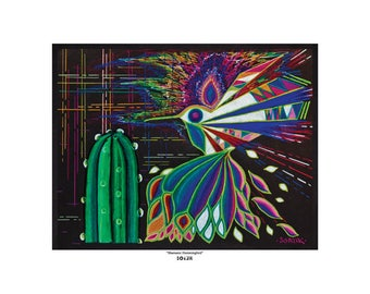 "Art Print - ""Shamanic Hummingbird"" by Soazik - Limited Edition, Numbered, Signed by Artist"