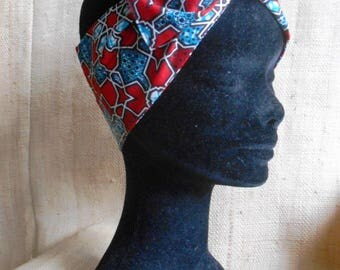 African turban, hard headband for girl and woman, red turquoise wax