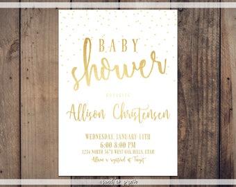 GOLD BABY SHOWER Digital Invitation, Baby Shower Invitation, Gold Foil Baby Shower, Custom Invitation, Baby Shower, Simple Baby Shower