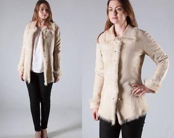 Ivory Patchwork Shearling Jacket, Women Sheepskin Jacket, Afghan Coat Sherpa Jacket Suede Blazer Leather Jacket, Suede Jacket Women Coat M L
