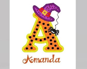 Embroidery  Halloween Applique Alphabet Letters with free font for personalizing.  Applique - 5X7 frame with font in 3 sizes in 10 formats