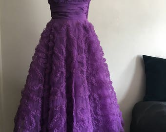 Vintage 1950s Violet Tulle Party Dress