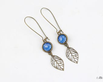 Brass and blue flowers #1019 earrings