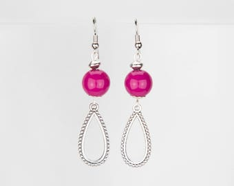 Earrings Fuchsia and silver #1239