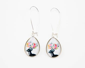 Earrings black deer and flowers #1363