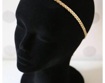Gold braided headband vintage leatherette #0853