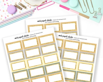 F117 Lemon and Frosting Glitter Half Boxes - Functional Stickers Add on Planner Stickers A la Carte