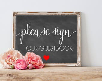 Please Sign our Guestbook Chalkboard, Printable Guestbook Sign, Wedding Guestbook Sign, Guest Book Sign Chalkboard, Printable Wedding Signs