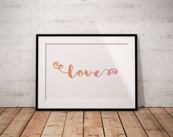 Love Printable, Love Watercolor Print, Love Watercolor Art, Love Pink Print, Instant Download, Love Wall Art, Girl Baby Room Decor, Pink
