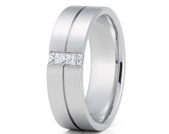 White Wedding Band 14k Diamond Wedding Band Anniversary Ring Engagement Band Men's Gold Wedding Ring
