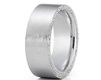 Diamond Wedding Band 14k White Gold Men's Wedding Ring Anniversary Band Gold Wedding Ring Satin Finish Wedding Ring