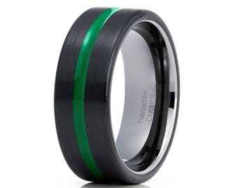 Green Tungsten Wedding Band Black Tungsten Ring Gunmetal Men & Women Green Tungsten Carbide Ring Brush Polish Comfort Fit
