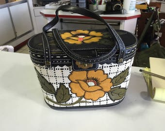 Isabella Fiore  Embroidered Flower Picnic Basket Satchel