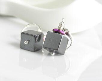 Geometric earrings Hematite Grey earrings Dangle earrings gift her Minimalist earrings Simple Gemstone silver gift Stone women gift
