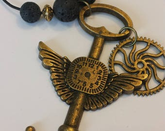 Steampunk Key with wings and Gear necklace