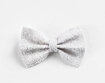 Silver & White Glitter Bow