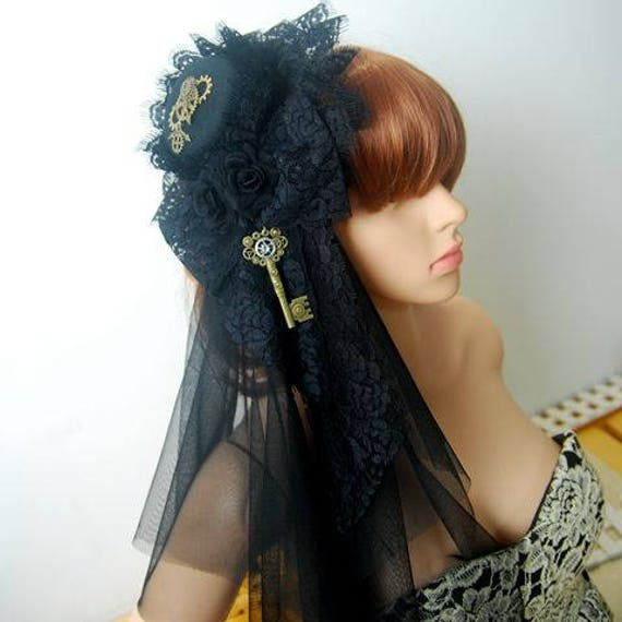 Mystical Women s Steampunk Mini Top Hat With Veil 2feadced0e6