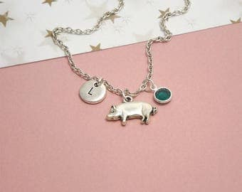 Pig jewelry etsy silver pig necklace pig pendant necklace pig gifts for girls silver pig charm necklace pig jewelry mozeypictures Gallery