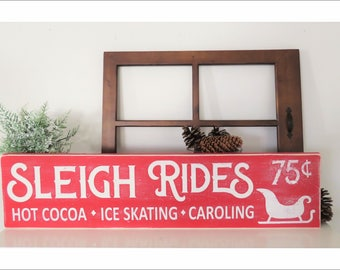 Sleigh Rides Christmas Sign. Christmas Farmhouse Distressed Sleigh Ride Sign. Distressed Christmas Sign. Farmhouse Christmas Tree Sign.