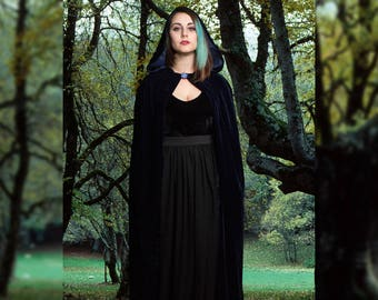 Alexander cloak, Unisex long cape in glittery blue velvet fabric, Role play, LARP, Fantasy costume