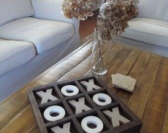 Coffee Table Tic Tac Toe Wood Board Nine Squares