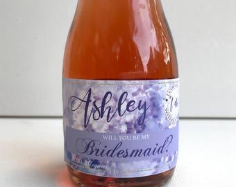 PRINTED mini custom champagne label, mini champagne bottle label, bridesmaid proposal, thank you labels, thank you champagne labels, matron