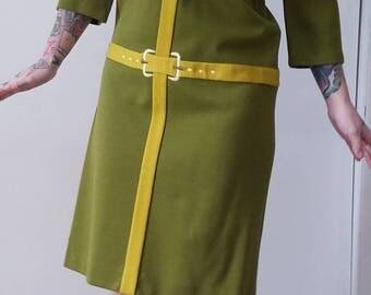 Vintage Green Dress, 1960s 1970s Dress