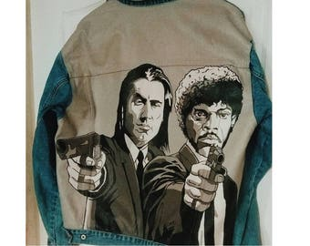 Hand painted jacket Pulp Fiction; Denim jacket with art; Denim jacket; hand painted denim jacket,jacket with a picture