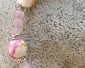 Pink floral beaded bracelet
