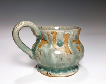 Celadon Pottery / Small Ceramic Mug / Wheel Thrown Mug / Stoneware Mug / Gift for Her