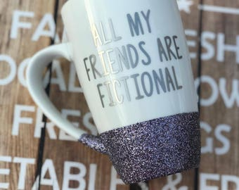 Book Lover, Book Mug, Book Gift, Bookish Mug, Best friend mug, friend mug, handmade mug, coffee lover, glitter mug