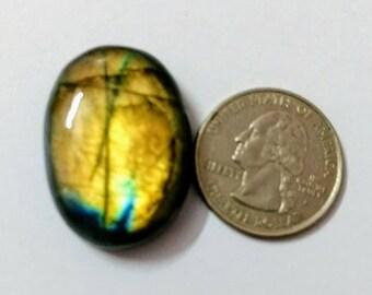 31.61 x 22.88mm,Ovel Shape Labradorite Cobochon/Golden Flash/wire wrap stone/Super Shiny/ Spectrolite  Cabochon/Semi Precious Gemstone/labra