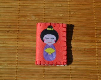 """Pincushion red and blue """"Japanese Doll"""""""
