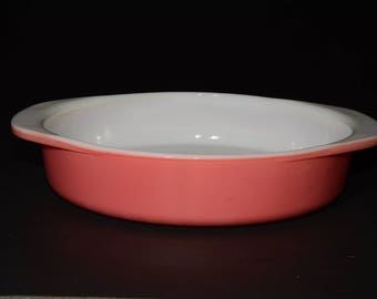 PYREX, Flamingo Pink, Cake Pan, 221, 8 inch, Deep Dish, Made in Canada, Mid Century, Handles, Pyrex Ovenware, Bakeware, Valentines Day Gift