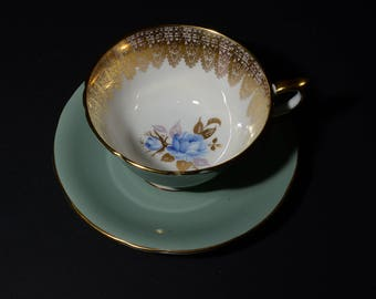 AYNSLEY, Bone China, turquoise, Teacup and saucer, blue roses on leaves, hand painted, Gold Rimmed, 2406, vintage, gold filigree, chintz